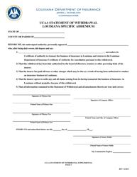 """Ucaa Statement of Withdrawal Louisiana Specific Addendum Form"" - Louisiana"