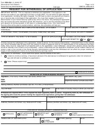 """Form Ssa-521 """"Request for Withdrawal of Application"""""""