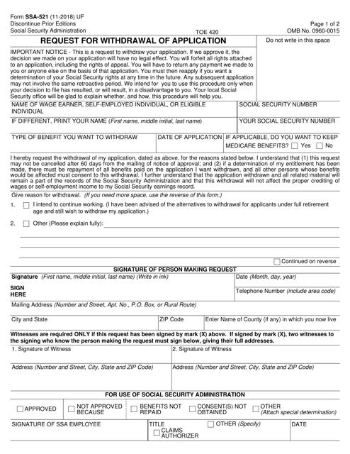 Form SSA-521 Printable Pdf