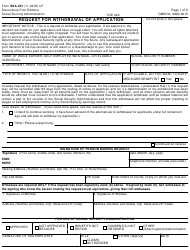 Form SSA-521 Request for Withdrawal of Application