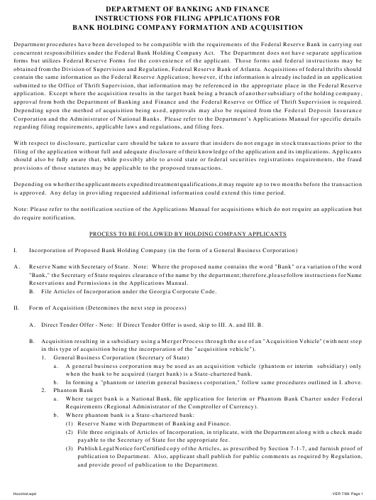 """Instructions for """"Applications for Bank Holding Company Formation and Acquisition"""" - Georgia (United States) Download Pdf"""