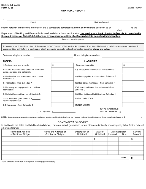 Form 19-6A  Printable Pdf