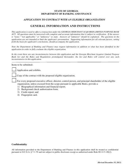 """Application to Contract With an Eligible Organization Form"" - Georgia (United States) Download Pdf"