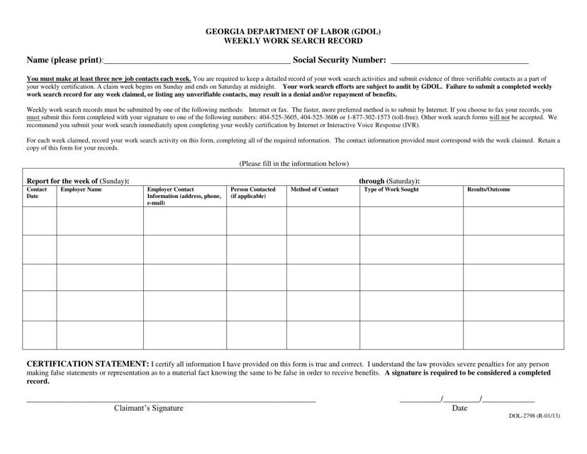 Form DOL-2798  Printable Pdf