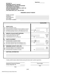"""Form SWM-FM """"Remaining Capacity Report"""" - Georgia (United States)"""