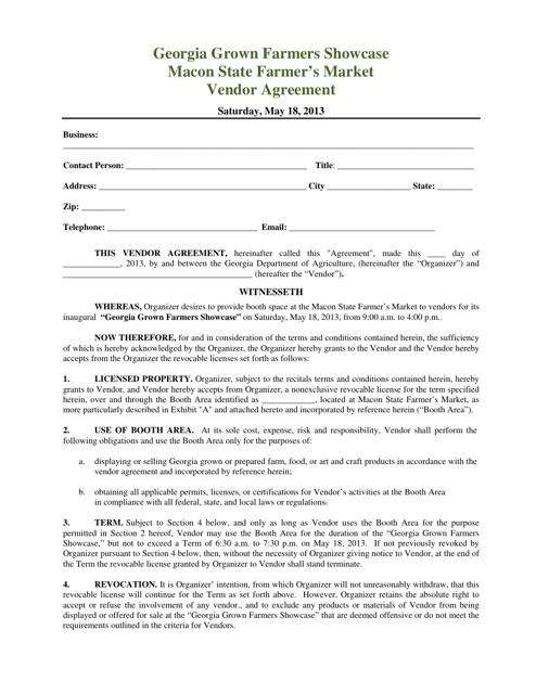 """Georgia Grown Farmers Showcase Macon State Farmer's Market Vendor Agreement Form"" - Georgia (United States) Download Pdf"