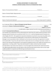 """Georgia Licensed Animal Rescue Authorization Form"" - Georgia (United States)"