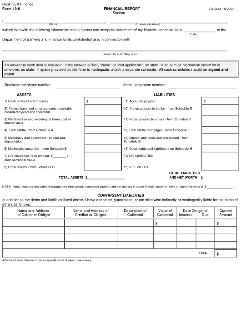 Form 19-6  Printable Pdf