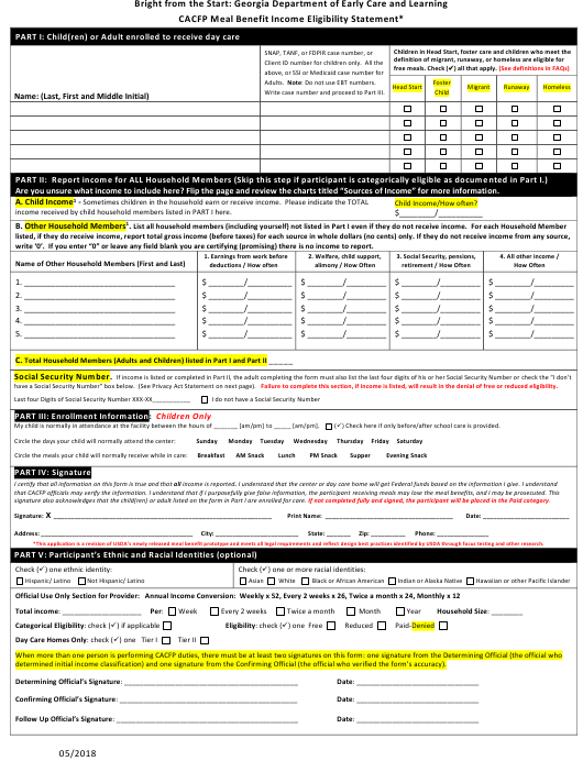 """""""CACFP Meal Benefit Income Eligibility Statement Form"""" - Georgia (United States) Download Pdf"""
