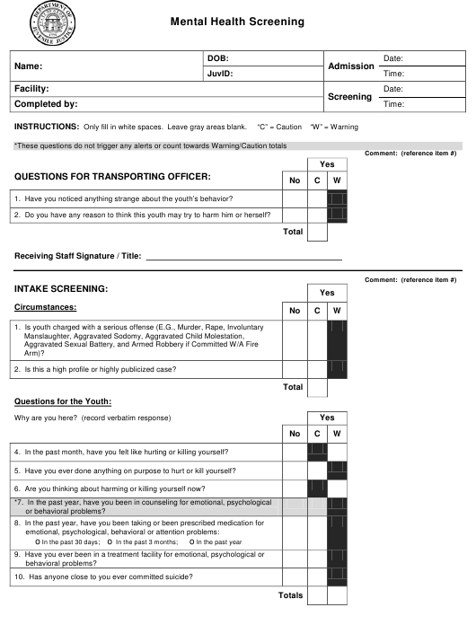 Attachment A Download Printable Pdf Or Fill Online Mental Health Screening Form Georgia United States Templateroller