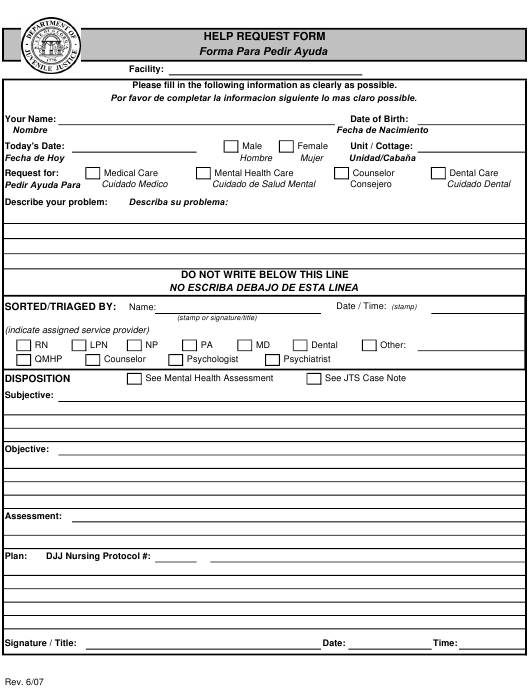 Georgia United States Help Request Form Download Printable Pdf Templateroller