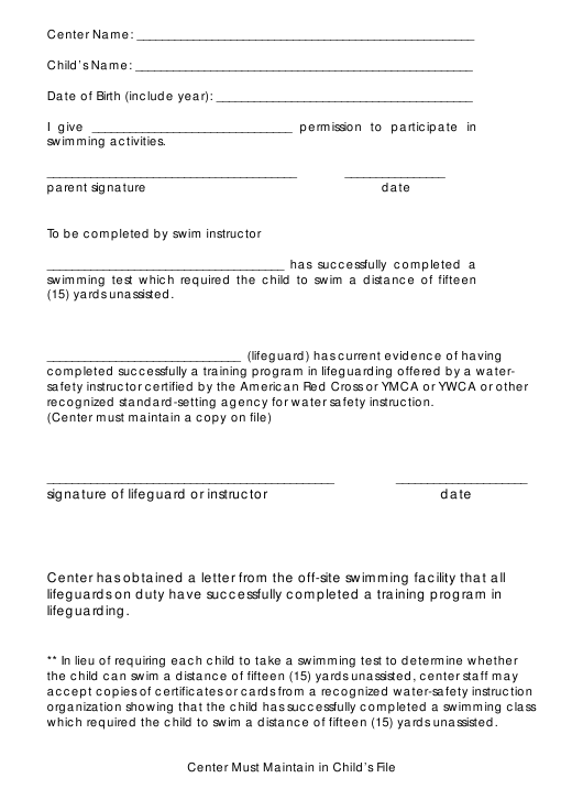 """""""Permission Form to Participate in Swimming Activities"""" - Georgia (United States) Download Pdf"""