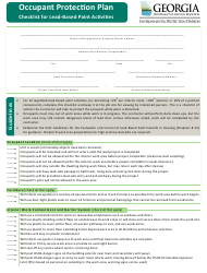 """Occupant Protection Plan Checklist for Lead-Based Paint Activities"" - Georgia (United States)"