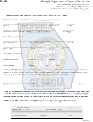 """Medium/Heavy Duty Vehicle Certification Form for State Lev Tax Credit"" - Georgia (United States)"