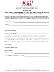"""""""Application for Certificate of Birth Resulting in Stillbirth/Fetal Death"""" - Georgia (United States)"""