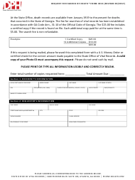 """Form 3912 """"Request for Search of Death"""" - Georgia (United States)"""