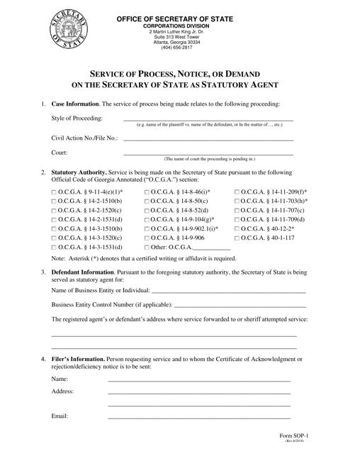Form SOP-1  Printable Pdf