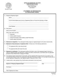 "Form RA-1 ""Statement of Resignation of Registered Agent"" - Georgia (United States)"