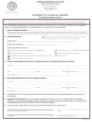 "Form RA-2 ""Statement of Change of Address of Registered Office"" - Georgia (United States)"