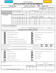 "Form A-30 ""Application for Investments"" - Hawaii"