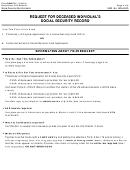 Form SSA-711 Request for Deceased Individual's Social Security Record