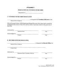 "HRD Form OPF-I Attachment 1 ""Designation of Custodian of Records"" - Hawaii"