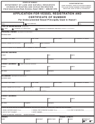 """""""Application for Vessel Registration and Certificate of Number for Undocumented Vessel Principally Used in Hawai'i"""" - Hawaii"""