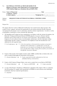 "Form MTRB MC ""Request for Letter of Material Certification"" - Hawaii"
