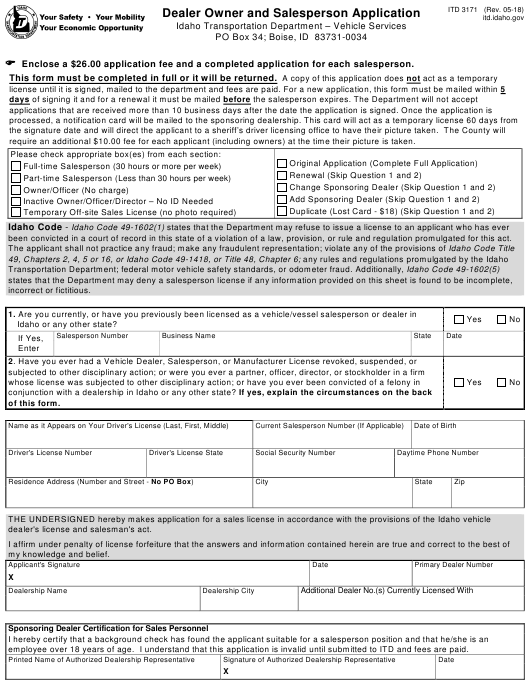 Form ITD 3171 Fillable Pdf