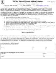 Form ITD 3201 Off-Site Record Storage Acknowledgment - Idaho