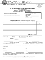 """Soil and Plant Amendments Semi-annual Tonnage Report Form"" - Idaho"