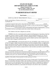 Warehouseman's Bond Form - Idaho