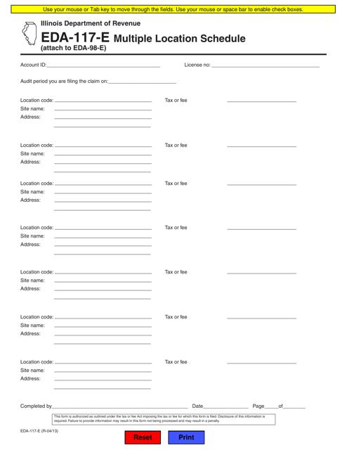 Form EDA-117-E Fillable Pdf