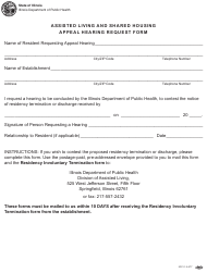 """Form IOCI15-557 """"Assisted Living and Shared Housing Appeal Hearing Request Form"""" - Illinois"""
