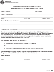 """Form IOCI15-577 """"Assisted Living and Shared Housing Residency Involuntary Termination Form"""" - Illinois"""