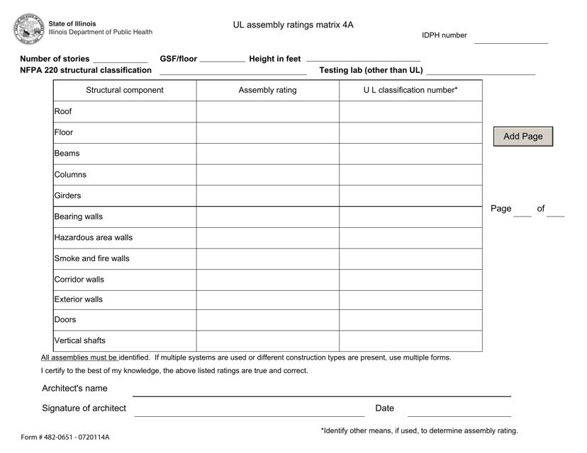 Form 482-0651 - 0720114A  Printable Pdf