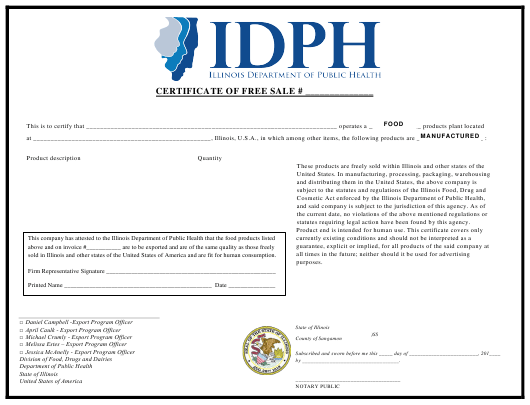 """Certificate of Free Sale With Invoice Number"" - Illinois Download Pdf"