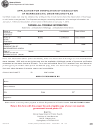 "Form IOCI18-121 ""Application for Verification of Dissolution of Marriage/Civil Union Record Files"" - Illinois"