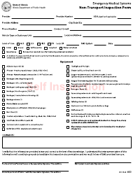 "Form IOCI16-60 ""Emergency Medical Services (EMS) Systems Non-transport Inspection Form"" - Illinois"