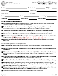 "Form IOCI16-82 ""Emergency Medical Services (EMS) Systems Aircraft Inspection Form"" - Illinois"
