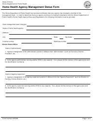 Form 445098 Home Health Agency Management Status Form - Illinois