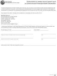 Form IOCI 15-337 Authorization to Utilize Unencrypted E-Mail to Communicate Protected Health Information - Illinois