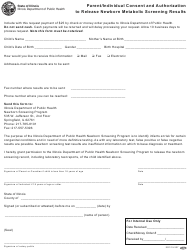 Form IOCI 15-337 Parent/Individual Consent and Authorization to Release Newborn Metabolic Screening Results - Illinois