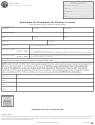 Form IOCI 15-475 Application for Examination for Plumber's License - Illinois
