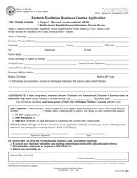 "Form IOCI14-516 ""Portable Sanitation Business License Application"" - Illinois"
