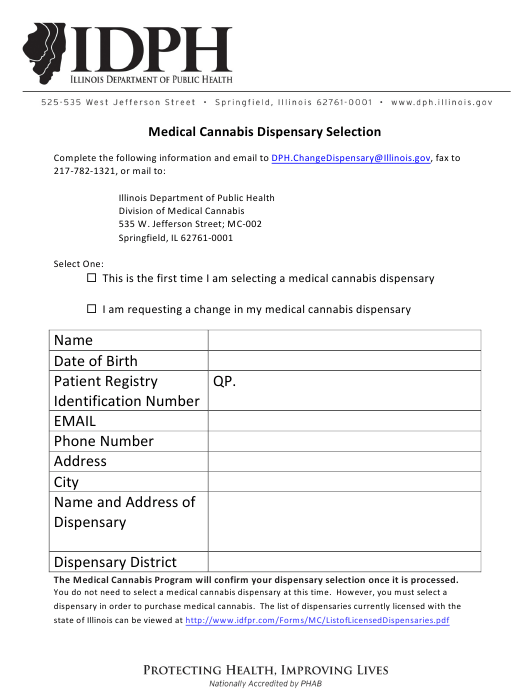 """""""Medical Cannabis Dispensary Selection Form"""" - Illinois Download Pdf"""