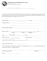"State Form 46596 ""Tb Hospital Reimbursement Claim"" - Indiana"