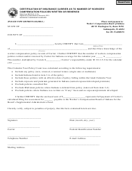 State Form 55310 Certification of Insurance Carrier as to Number of Workers' Compensation Policies Written or Renewed - Indiana