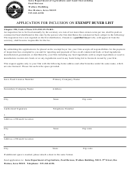 Application for Inclusion on Exempt Buyer List - Iowa