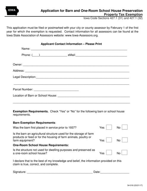 Form 54-018  Printable Pdf